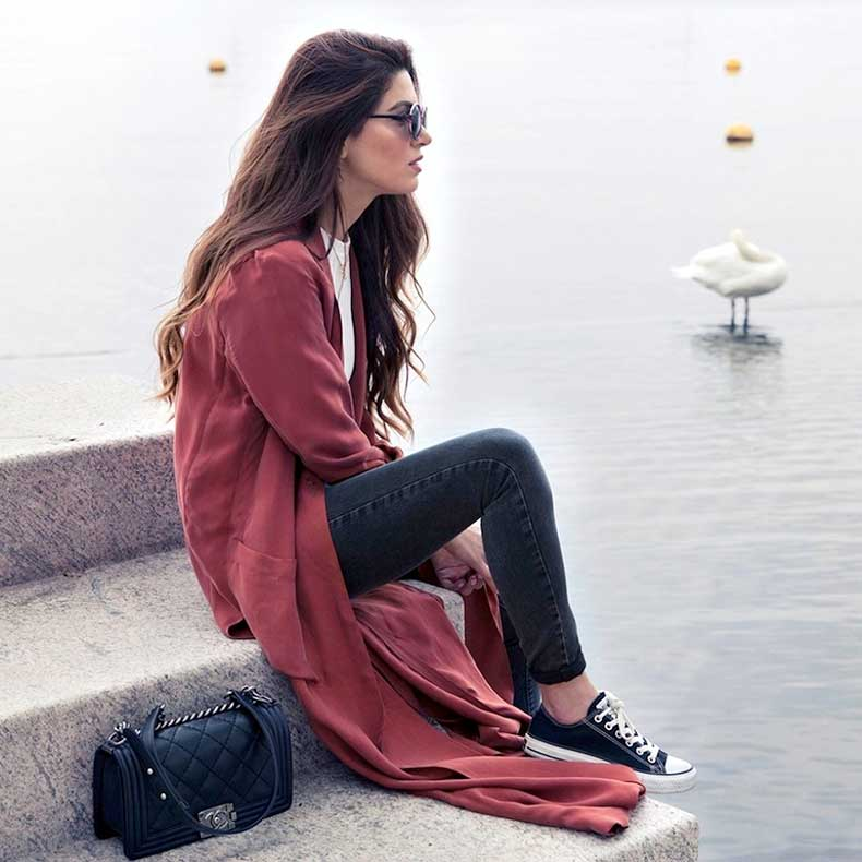 8-Le-Fashion-Blog-Long-Hair-Inspiration-Negin-Mirsalehi-Brunette-Brown-Wavy-Red-Coat-Jeans-Converse-Sneakers