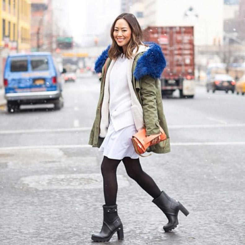 NYFW-FW15-street-style-songofstyle-Aimee-Song-black-tights-boots-cargo-coat-blue-fur-collar-white-dress-ivory-sweater-orange-clutch