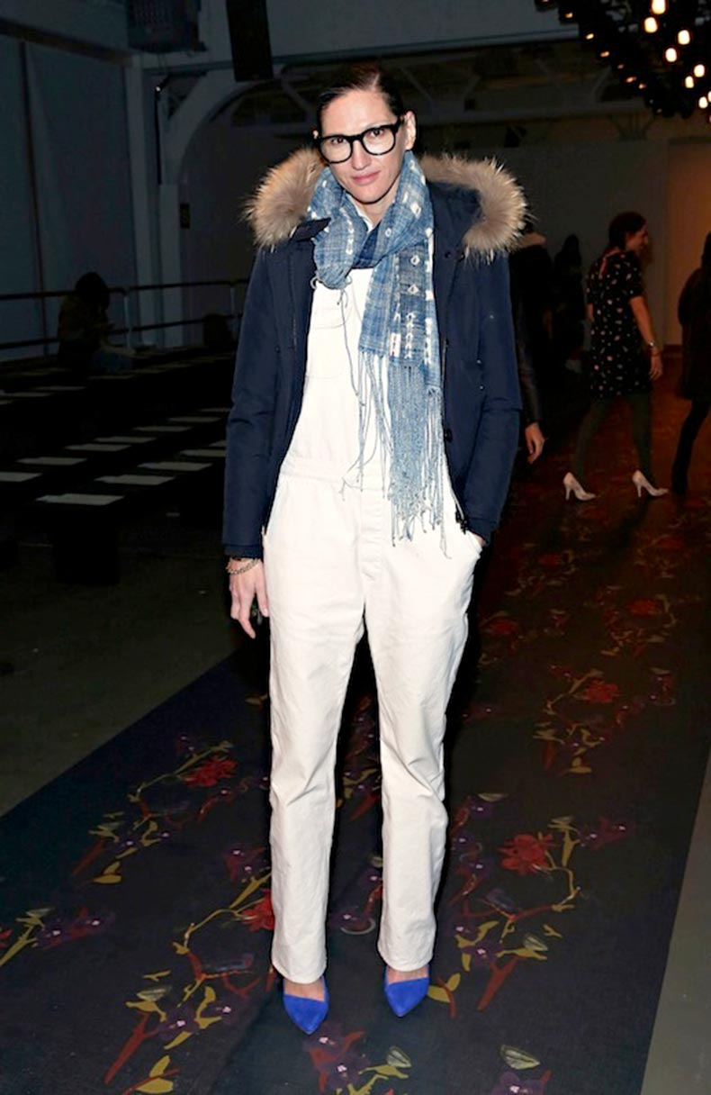 11-Le-Fashion-Blog-17-Ways-To-Wear-White-Overalls-Jenna-Lyons-Fur-Collar-Coat-Blue-Pumps-Via-Harpers-Bazaar