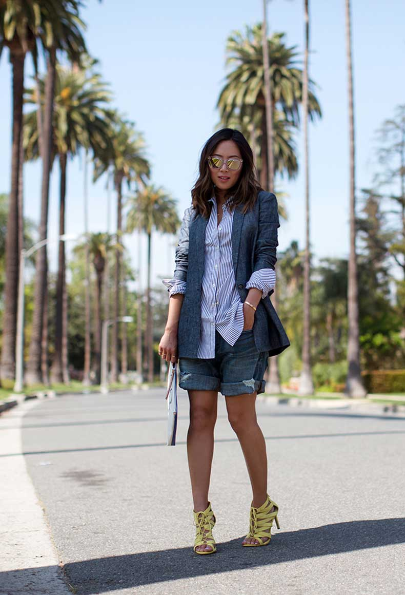 aimee_song_striped_shirt_denim_shorts