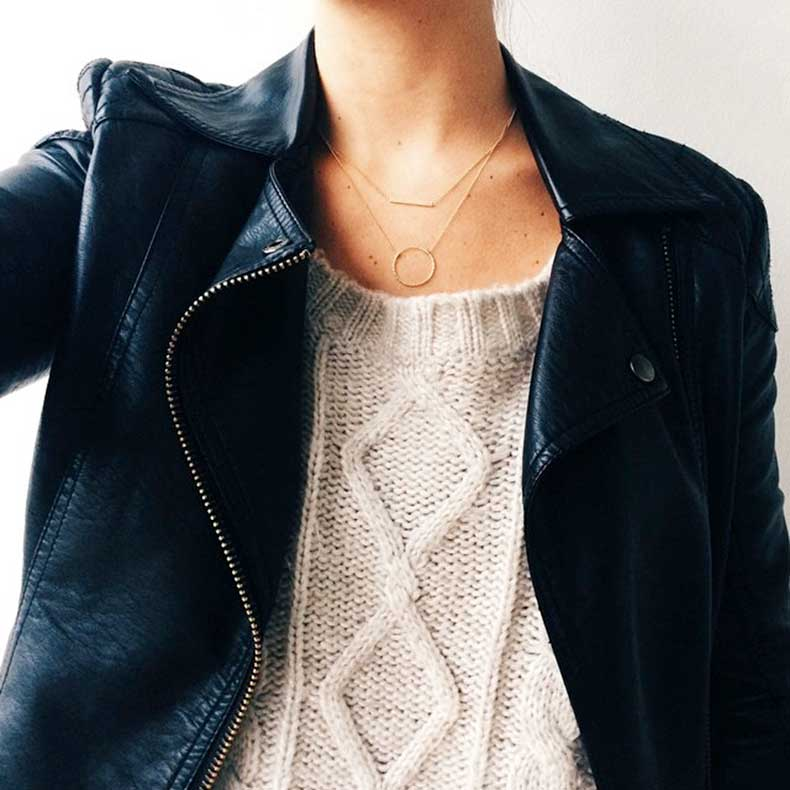 Le-Fashion-Blog-Jewelry-Crush-Delicate-Necklaces-Dogeared-Balance-Bar-Karma-Cable-Knit-Leather-Jacket-Via-Colby-Milano-Moeh-Fashion