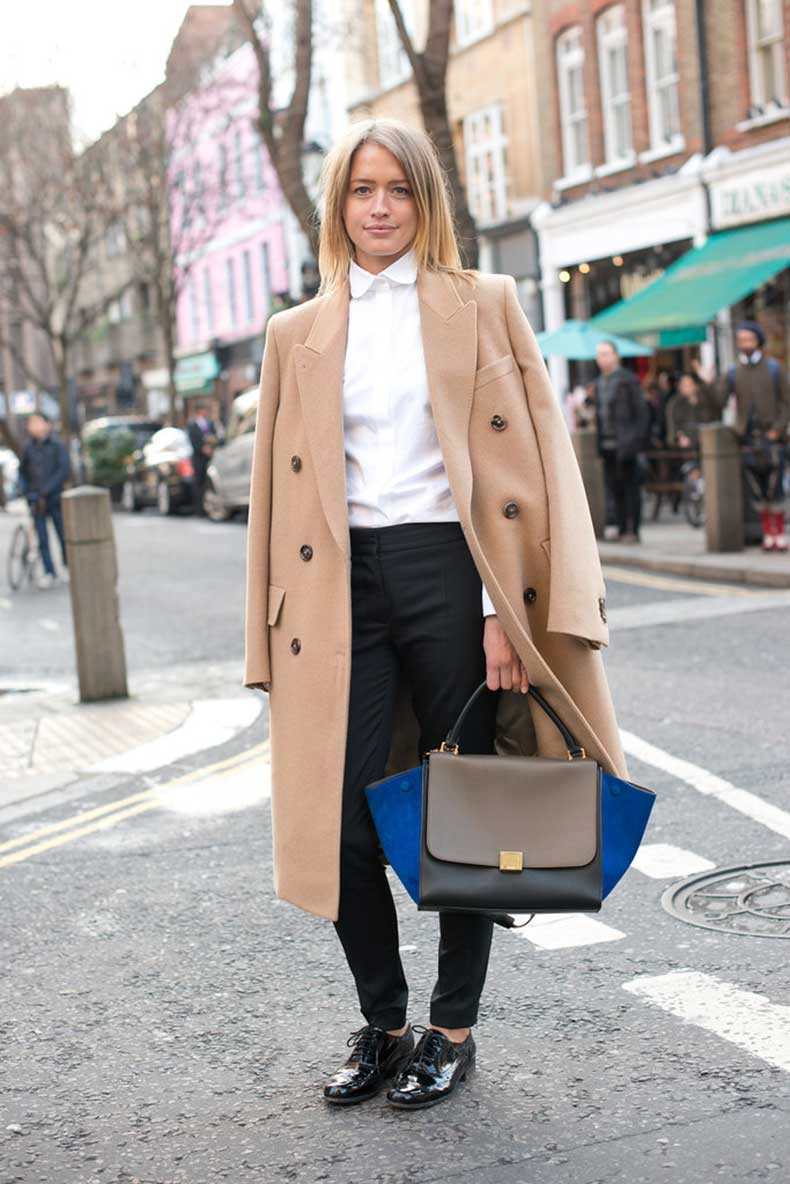 chicest-duos-classic-camel-coat-colorblocked-Céline