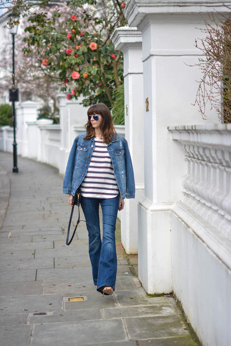 EJSTYLE-Emma-Hill-Double-denim-Spring-outfit-flare-jeans-stripe-HM-top-HM-denim-jacket-navy-bag-nude-sandals-OOTD-street-style-polarised-ray-bans