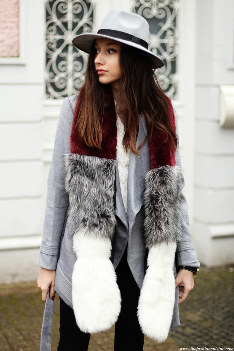 missguided-faux-fur-striped-scarf-fedora-hat-grey-belted-coat