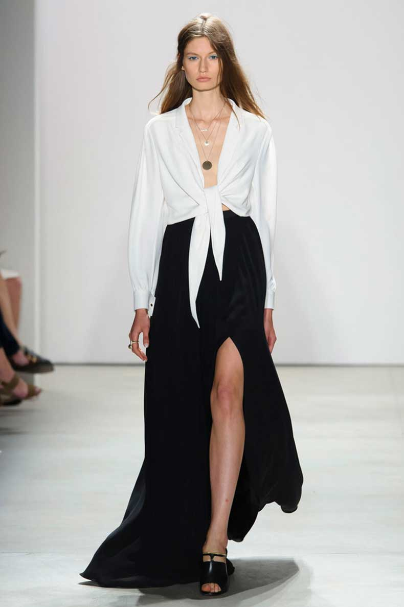 knotted-button-down-sexy-slit-skirt