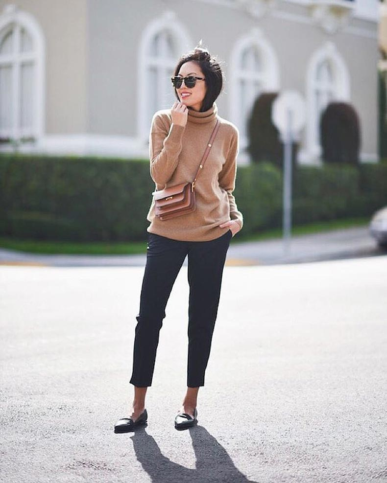 Turtleneck-Sweater-Tailored-Pants-Loafters