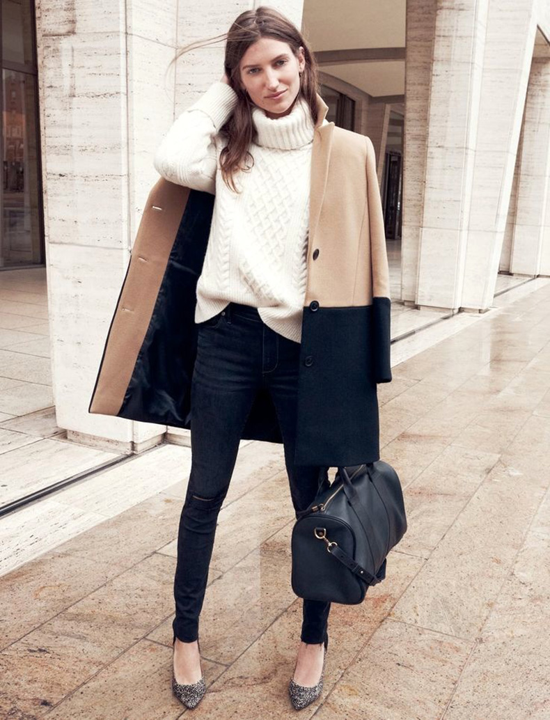 Le-Fashion-Blog-Parisian-Cool-Sezane-Madewell-Collection-Colorblock-Coat-Turtleneck-Sweater-Satchel-Animal-Print-Heel