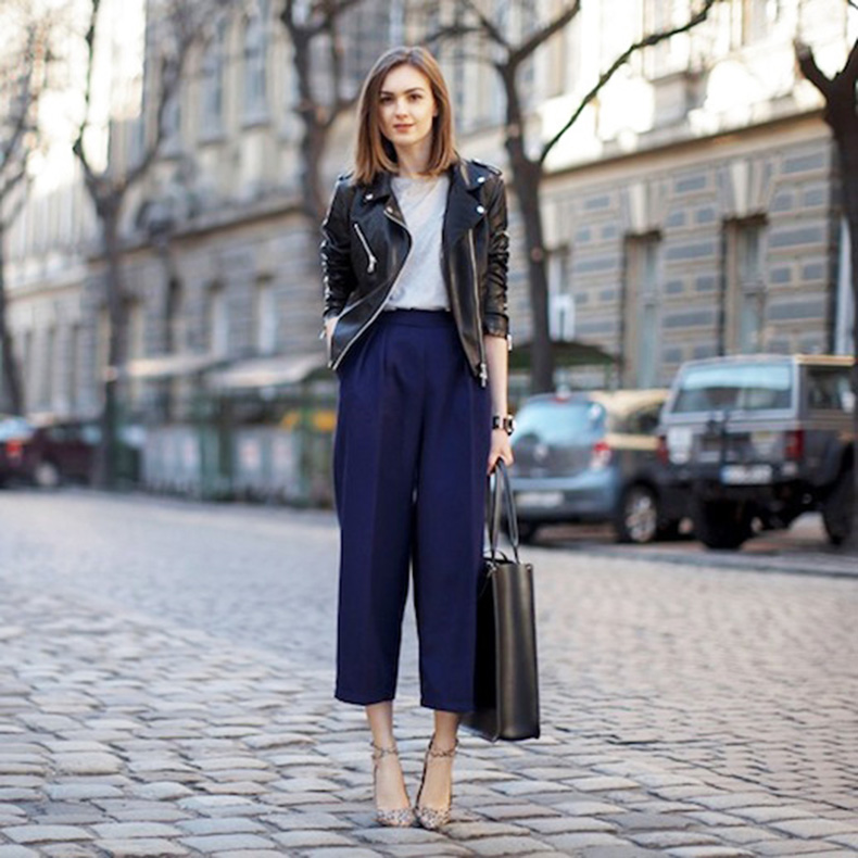 Le-Fashion-Blog-Winter-Officewear-Leather-Biker-Jacket-Dark-Blue-Culottes-Large-Leather-Satchel-Patterned-Strapy-Pumps-Via-Fashion-Agony