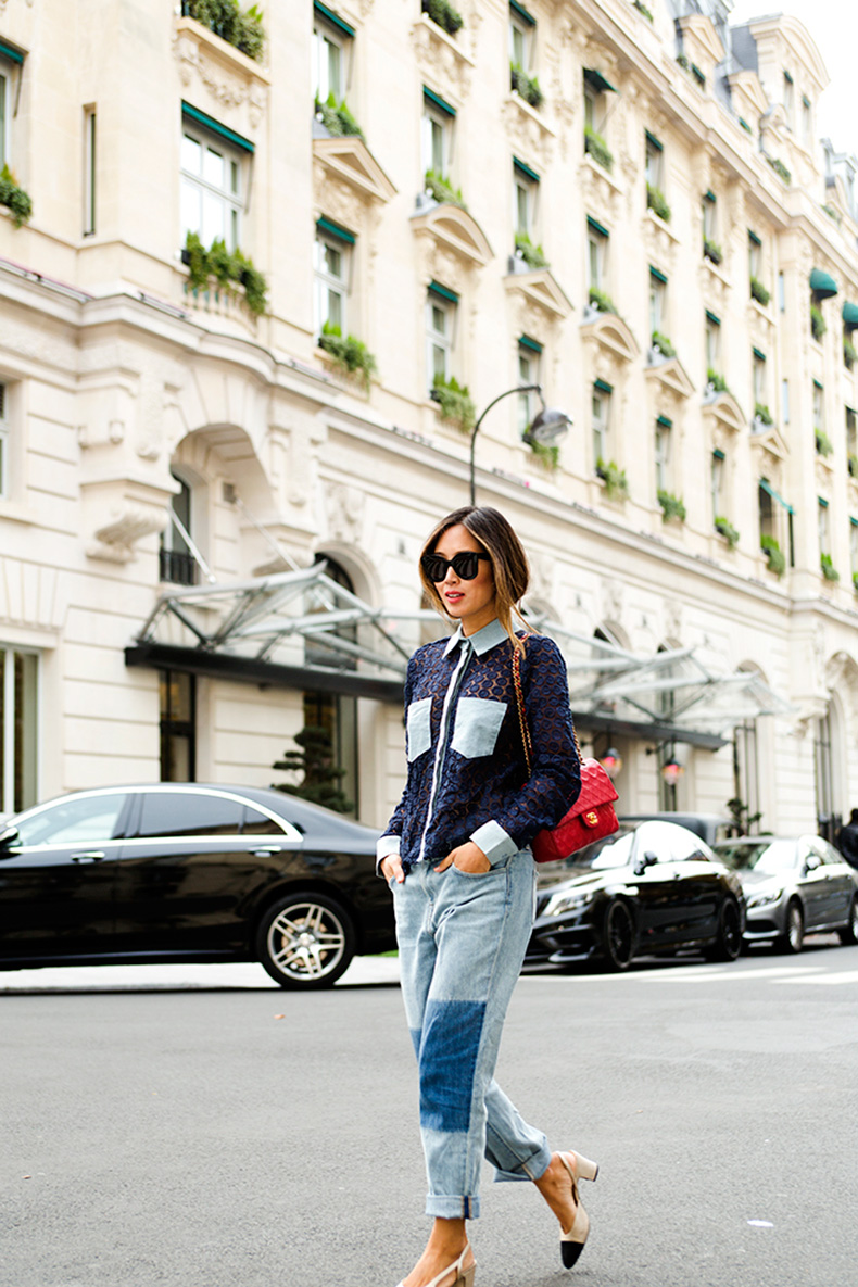aimee_song_of_style_sister_jane_crochet_shirt_wildfox_jeans_chanel_bag_celine_sunglasses_chanel_slingback_sandals_chanel_quilted_bag