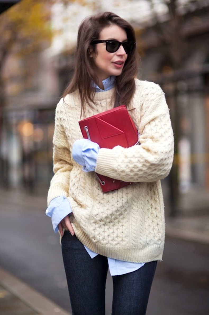 Le-Fashion-Blog-Winter-Style-Oversized-Beige-Fisherman-Knit-Blue-Button-Down-Shirt-Red-Fold-Over-Bag-Dark-Blue-Jeans-Via-A-Portable-Package