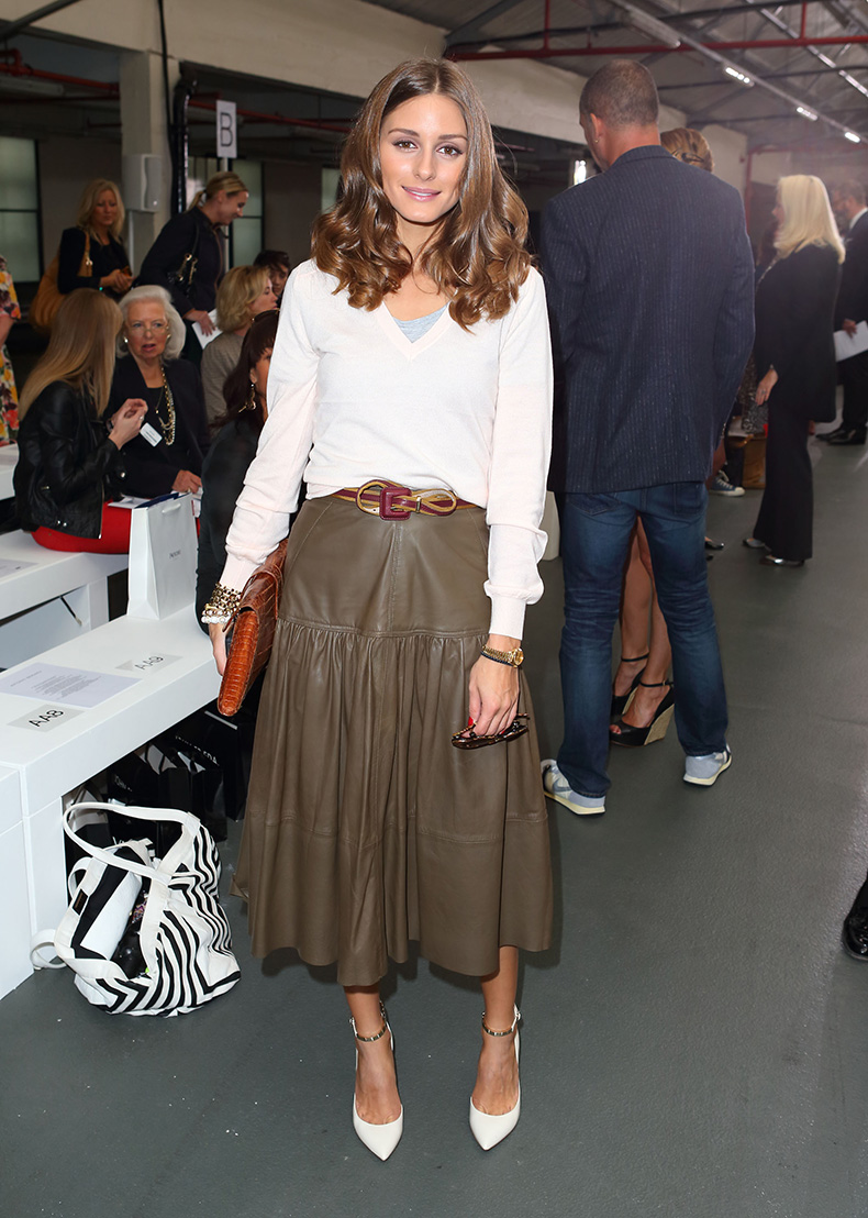 Olivia-Palermo-styled-up-leather-midi-skirt-ankle-strap-heels
