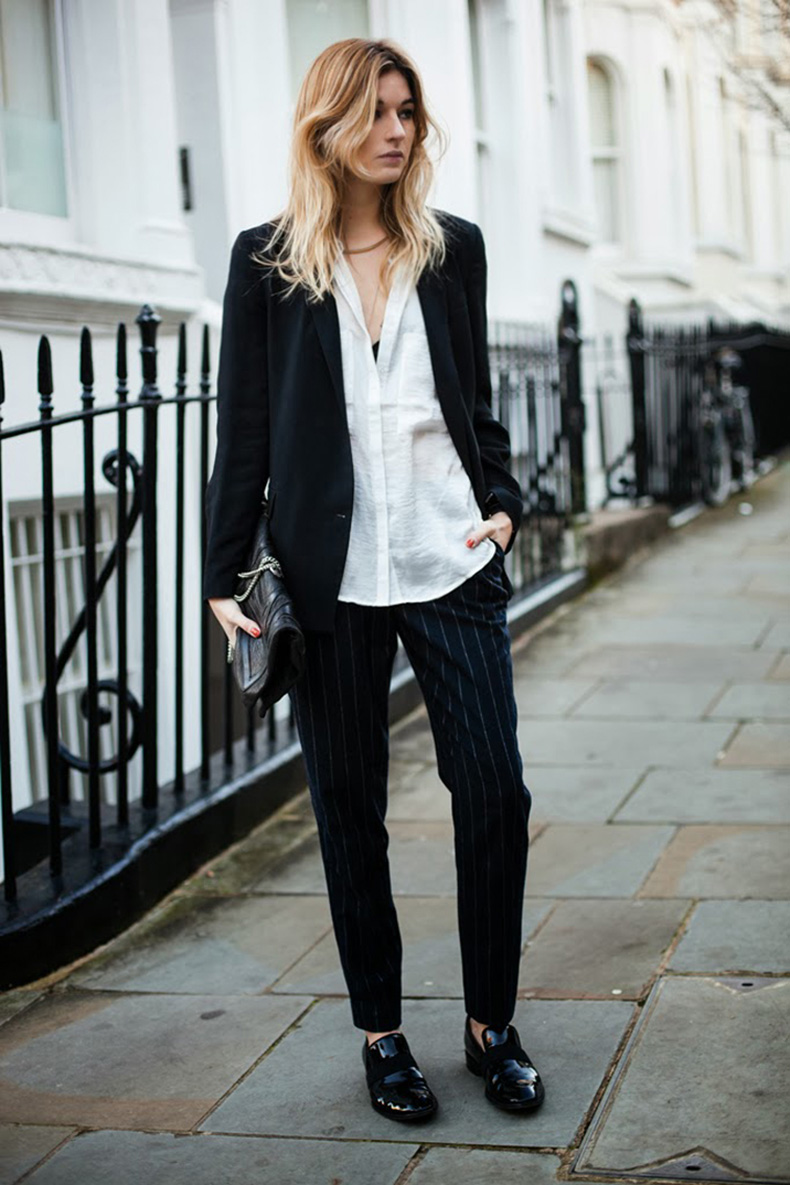 Pinstripe-COTR-camille-over-the-rainbow-camille-charriere-boyfriend-blazer-trousers-brogues-celine-patent-leather-loafers