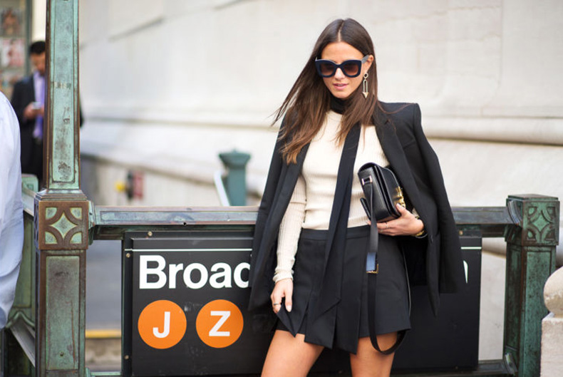 black-shorts-suit-work-shorts-fall-work-outfits-skinny-scarf-carwash-pleats-skort-nyfw-via-hbz