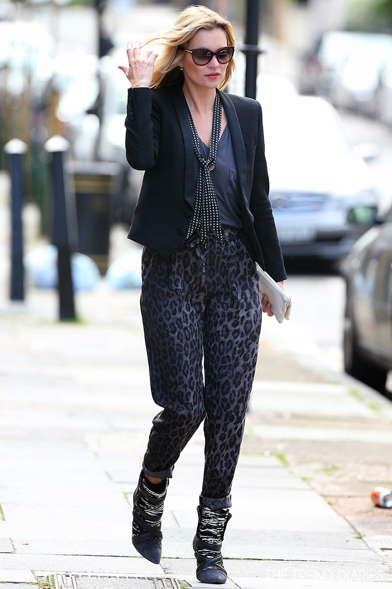 kate-moss-style-leopard-track-pants-black-blazer-polka-dot-scarf-isabel-marant-tacy-boots-sunglasses