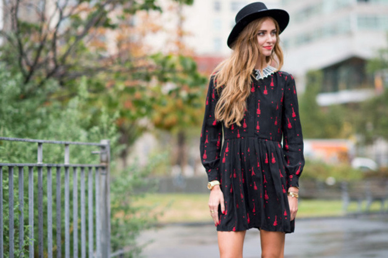 nyfw-fall-outfits-via-elle.com-fall-dress-mini-pdres-printed-dress-red-and-black-collared-dress-lace-collar-hat-blonde-salad-blogger-style-640x426