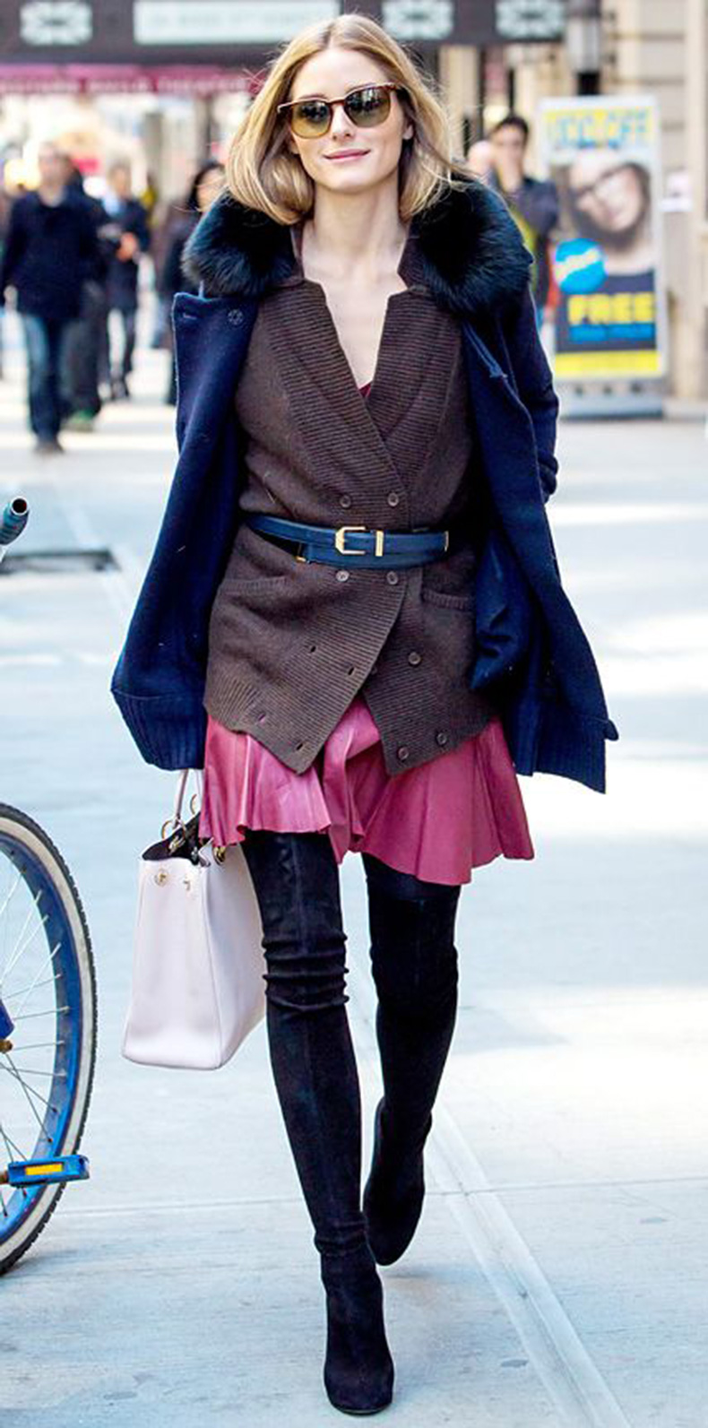 olivia-palermo-belted-cardigan-pleated-skirt-over-the-knee-boots-fur-jacket-winter-fall-via-instyle.com_