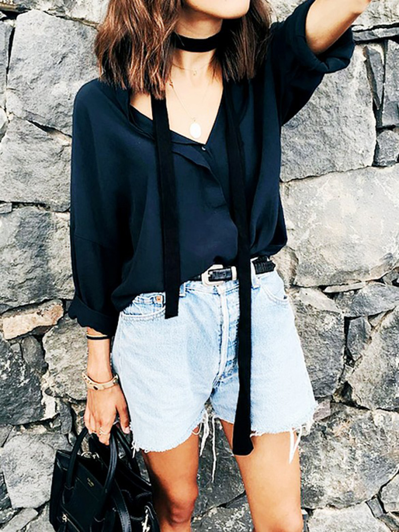 skinny-scarf-cutoffs-denim-cutoffs-western-belt-navy-blouse-summer-fall-style-transitional-style-instagram-deborabrosa
