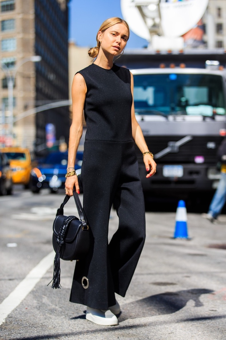black bag, black jumpsuit, celine, fashion week, flat shoes, frenchystyle, full length, FW, jonathan paciullo, leather bag, leather shoes, NEW YORK, NYFW, pernille teisbaek, SPRING SUMMER 2016, SS 16, street style, tone on tone, total look black, vertical, white slippers, white sneakers, woman