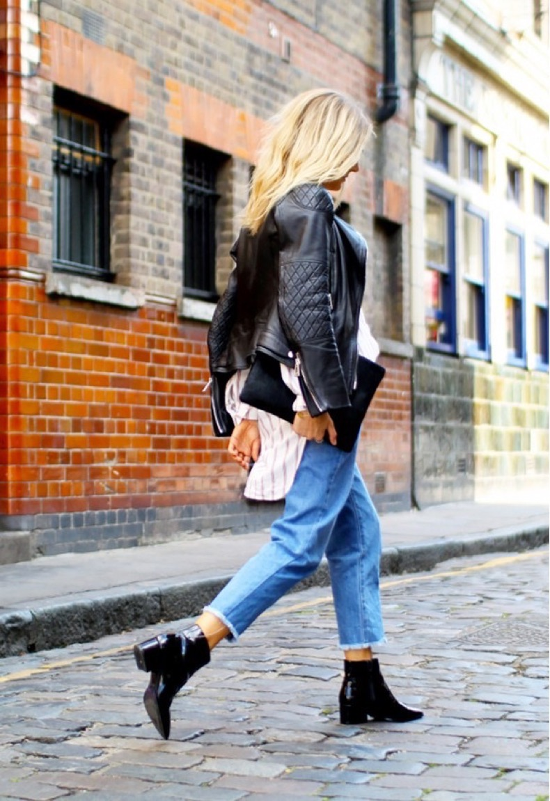 cropped-jeans-ank-chelsea-ankle-boots-frayed-denim-striped-shirt-black-leather-moto-jacket-envelope-clutch-via-fashion-me-now
