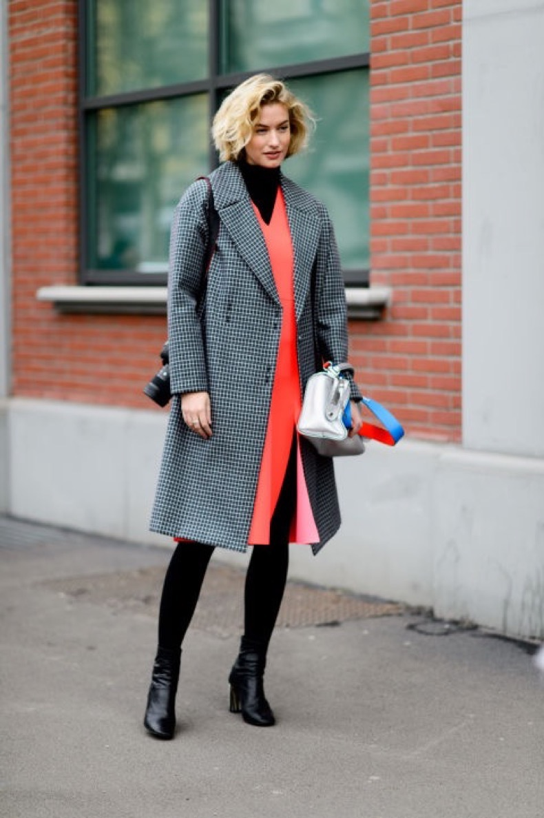 dress-over-turtleneck-black-tights-ankle-booties-bright-dress-red-orange-work-outfit-checkered-coat-mfw-street-style-elle