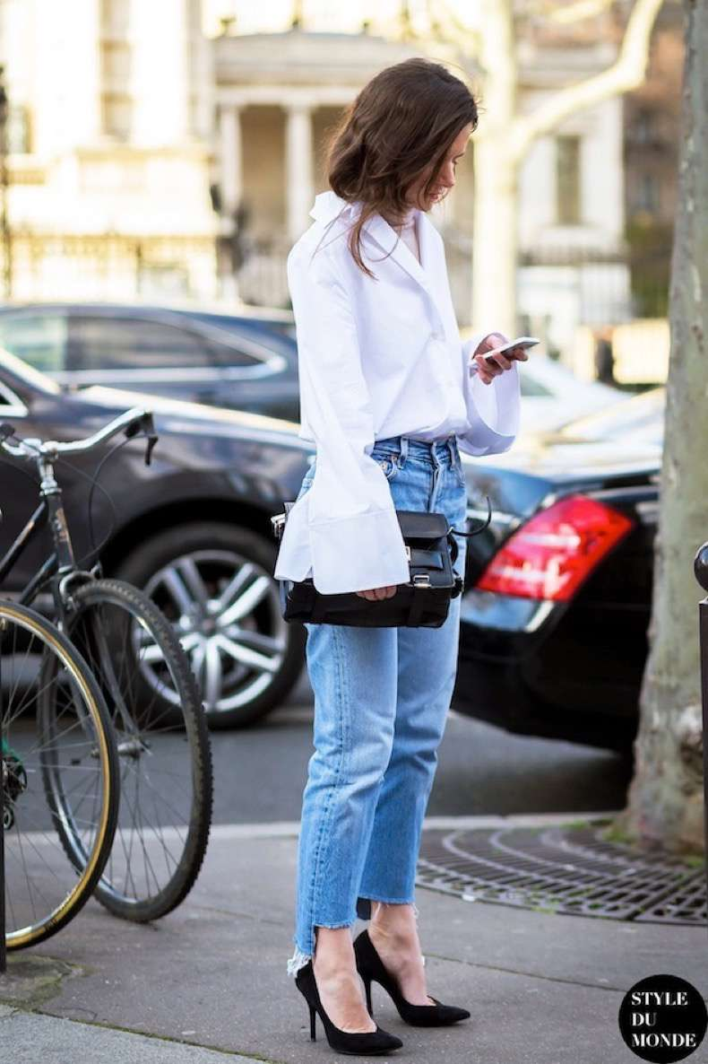 Le-Fashion-Blog-Street-Style-Bell-Flare-Sleeve-White-Acne-Shirt-Proenza-Schouler-PS11-Bag-Raw-Hem-Jeans-Via-Style-Du-Monde