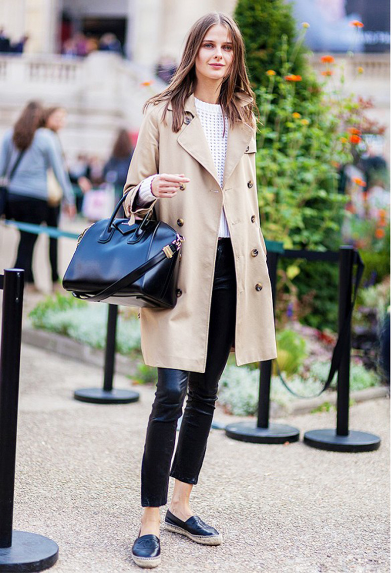 black-leather-skinnies-chanel-espadrille-flats-white-sweater-black-and-white-trench-coat-spring-via-athens-street-style