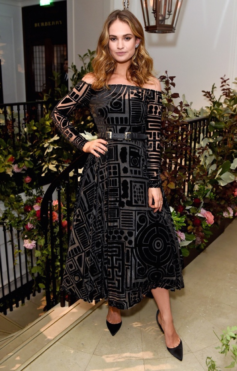 attends an event hosted by Lily James to celebrate the launch of My Burberry Black at Burberry's all day cafe Thomas's on August 22, 2016 in London, England.