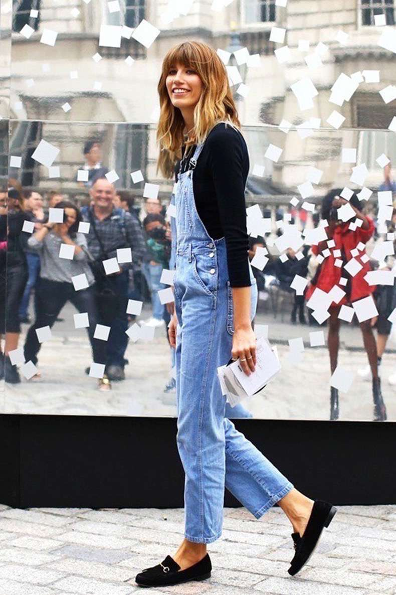 le-fashion-blog-london-street-style-veronika-heilbrunner-bangs-denim-jean-overalls-black-suede-gucci-loafers-via-vogue