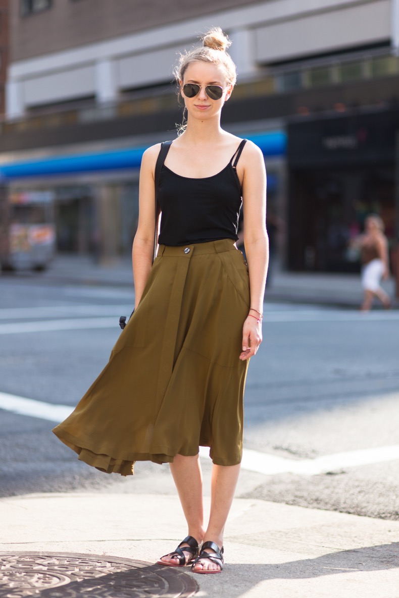 NEW YORK, NY - JUNE 2012: Student Amy Stoker wears a Gap tank top, Madewell skirt, DV by Dolce Vita sandals, and Ray-Ban sunglasses in June 2012 in Greenwich Village, New York City. (Photo by Melodie Jeng/Getty Images)